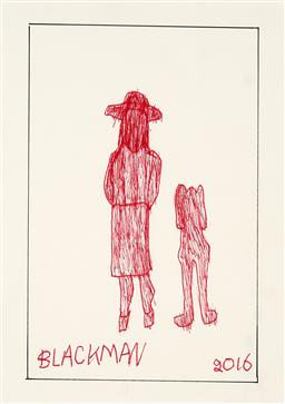 Sale 9248H - Lot 160 - CHARLES BLACKMAN (1928 - 2018) Original Ink on Artist Paper / Card Title and Dated: Schoolgirl and Dog, 2016 Hand Signed: Lowe...