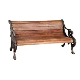 Sale 9245T - Lot 84 - A cast iron garden bench with timber seat. Dimensions: H 74 x W 144 x D 62cm