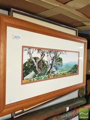 Sale 8449 - Lot 2076 - Jane Deerson - Snow Gums at Charlottes Pass,  watercolour, 12.5 x 37cm, signed lower right & 2 Other Original Artworks by Various...
