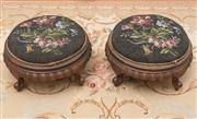 Sale 8470H - Lot 20 - A pair of Victorian carved walnut foot stools with  floral glass bead upholstery, D 32cm