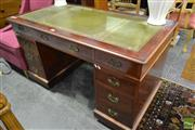 Sale 8499 - Lot 1627 - Timber Twin Pedestal Desk with Inlaid Leather Top & Nine Drawers