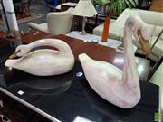 Sale 8566 - Lot 1386 - Pair of Timber Carved Swans