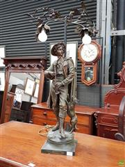 Sale 8598 - Lot 1037 - French Spelter Figure Lamp Patre, after Bruchon, of a shepherd with his hound & bagpipes, having a two branch light with leaves &...