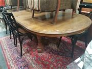 Sale 8676 - Lot 1087 - Oak Extension Dining Table on Stretcher Base