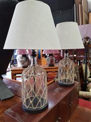 Sale 8740 - Lot 1170 - Pair of Twine Bound Glass Bulbous Table Lamps
