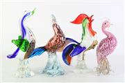 Sale 8887A - Lot 622 - Rooster Form Art Glass Figure (26cm) together with Three other Bird Examples (H25cm & 23cm & 26cm) [4 in total]