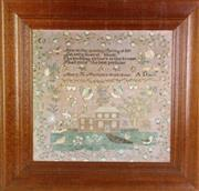 Sale 8931B - Lot 640 - framed Spring of Life tapestry, dated 1827 (69 x 71cm)