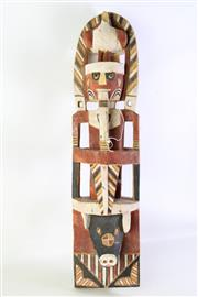 Sale 8935D - Lot 627 - A Carved and Hand Painted Cultural Totem with Pig Face Base and Male Mid Section and Bird to Top (Damage to Bird) (H 75cm)