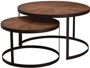 Sale 9010F - Lot 22 - A PAIR OF SOLID RECLAIMED ELM WOOD CIRCULAR OCCASIONAL TABLES ON METAL BASES. H:48 D:80