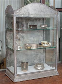 Sale 9120H - Lot 232 - A Colton Palmer & Preston Ltd Adelaide tin framed display shelf of diminutive size presenting three shelves, Height 62cm x Width 40...