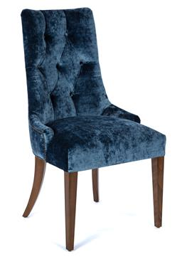 Sale 9140W - Lot 51 - A set of eight blue velvet dining chairs with button back Colefax & Fowler upholstery, Cosim Velvet in Delft blue, the legs in dark...