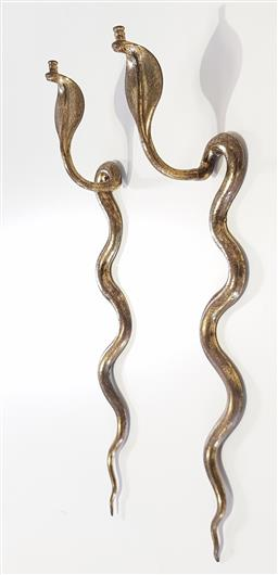 Sale 9183 - Lot 1004A - Pair of Indian brass cobra form wall sconces (h:75cm)