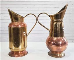 Sale 9188 - Lot 1259 - Brass and copper ewers (h:57cm)