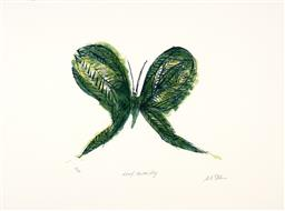 Sale 9248H - Lot 182 - CHARLES BLACKMAN (1928 - 2018) Limited Edition Silkscreen on Artist Paper / Card Title: Leaf Butterfly Signed: Lower Image E...