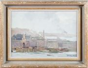 Sale 8308A - Lot 73 - Maxwell Wilks - Naval Buildings, Plymouth 27 x 38cm