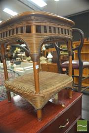 Sale 8331 - Lot 1343 - Cane Side Table & Early Timber Stool