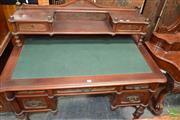 Sale 8460 - Lot 1011 - Unusual Late 19th / Early 20th Century Mahogany Veneered J & J Kohn Desk, with pressed panels & two drawers, above a green writing s...