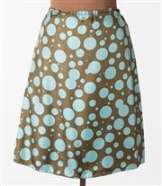 Sale 8550F - Lot 147 - A 100% silk Axel Mano A-line skirt with baby blue spots on an olive green background, with bird patterned silk lining, elasticated w...