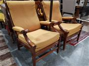 Sale 8740 - Lot 1337 - Pair of Timber Armchairs with Upholstered Back & Seat