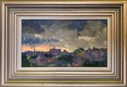 Sale 8964 - Lot 2008 - Dean Oliver Storm Over Balmain 1989oil on board, 14 x 25cm (frame), s]igned lower right