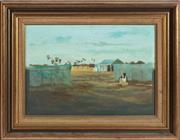 Sale 8976H - Lot 82 - Ray Crooke, An Islander landscape with figure, oil on board. 24x35cm