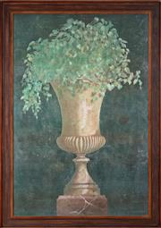 Sale 9020H - Lot 81 - Jacques Lamy  (French-American, 1946-2016), A Campana urn with foliage, oil on board 151x100cm SLR