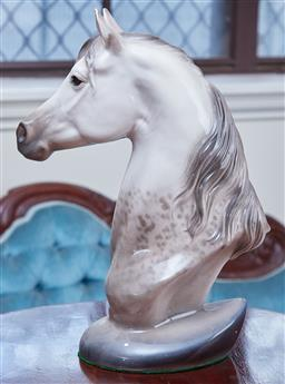 Sale 9103M - Lot 468 - A white and grey ceramic horse bust, Height 38cm