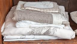 Sale 9120H - Lot 233 - Two large and one smaller cream and mushroom linen table cloths together with napkins.