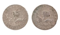 Sale 9130E - Lot 79 - Two Hogarth 3 pences dated 1860, marked Remembrance of Australia to reverse and Hogarth & Erich Sydney to observe, combined weight 2...