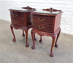 Sale 9137 - Lot 1052 - Pair of timber 2 drawer bedsides with ball & claw feet (h77 x w45 x d40cm)