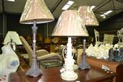 Sale 8093 - Lot 1332 - Pair Table Lamps on Bronze Style Base & Another Lamp
