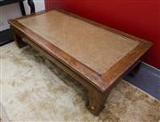 Sale 8205 - Lot 63 - An Chinese elm and rattan topped substantial opium table, H 53 x W 193 x D 100cm
