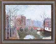 Sale 8379A - Lot 62 - John Marrington - Amsterdam canal scene 28 x 38cm