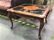 Sale 8412 - Lot 1017 - Pair of Glass Top Side Tables on Cabriole Legs