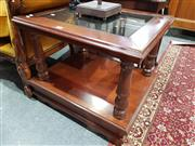 Sale 8740 - Lot 1344 - Tiered Timber Side Table with Glass Insert Top
