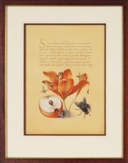 Sale 8845 - Lot 2042 - Artist Unknown - Orange Lily with Apple and Insects 44 x 31.5cm