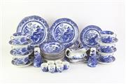Sale 8802 - Lot 43 - Burleigh Blue Willow dinner setting for 8, one saucer missing