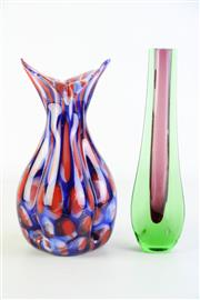 Sale 8887A - Lot 623 - A Slim Sommerso Mulberry and Green Vase (H24cm) Together with a Vintage Jack in the Pulpit Style Blue and Red Vase (H23cm)