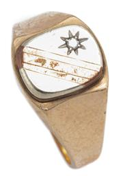 Sale 8915 - Lot 351 - A GENT 9CT GOLD DIAMOND SIGNET RING; 2 tone gold top star set with a small round brilliant cut diamond, size T, wt. 4.35g.