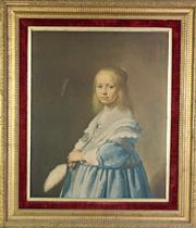 Sale 8931B - Lot 645 - velvet and gilt framed print of a young lady holding a feather (67 x 76cm)