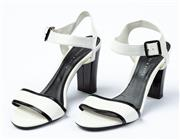 Sale 9027F - Lot 15 - A pair of Charles and Keith black and white open toe block heels, size 38.