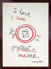 Sale 8992 - Lot 522 - Truong Tân (1963 - ) - i love you. protect me. 93 x 64 cm (hand-painted frame: 112 x 83 x 2 cm)