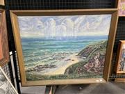 Sale 8995 - Lot 2034 - P Chanells Overlooking Coastal Bay 1961 oil on board 67 x 81cm (frame) signed