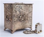 Sale 9010H - Lot 91 - Four music boxes to include a Danish silver example with repousse design and Thorens movement, An English oak and timber carved exam...