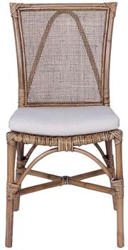 Sale 9010F - Lot 91 - A SET OF SIX RATTAN DINING CHAIRS WITH WEBBING FABRIC UPHOLSTERY.  H:91 x W:45 x D:55cm