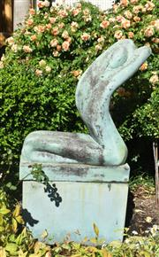 Sale 9087H - Lot 258 - A GRC statue of the garden spirit with plinth, showing aged bronze patina. 1.42m height, 74cm width, 32cm depth