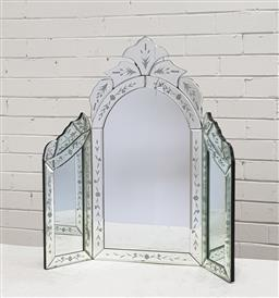 Sale 9102 - Lot 1086 - Etched Dressing Table Mirror, damaged (h:60cm)