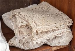 Sale 9120H - Lot 234 - A beige crochet table cloth and napkins