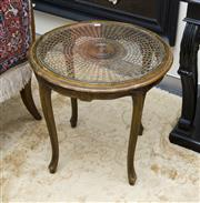 Sale 8205 - Lot 64 - A French style beech, cane and glass top occasional table on cabriole legs, H 56cm x D 61cm