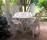 Sale 8430 - Lot 3 - A five piece Victorian style cast alloy outdoor setting. Height 94cm, diameter 70cm.